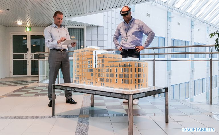Inspecting a residential building project with Microsoft Hololens.